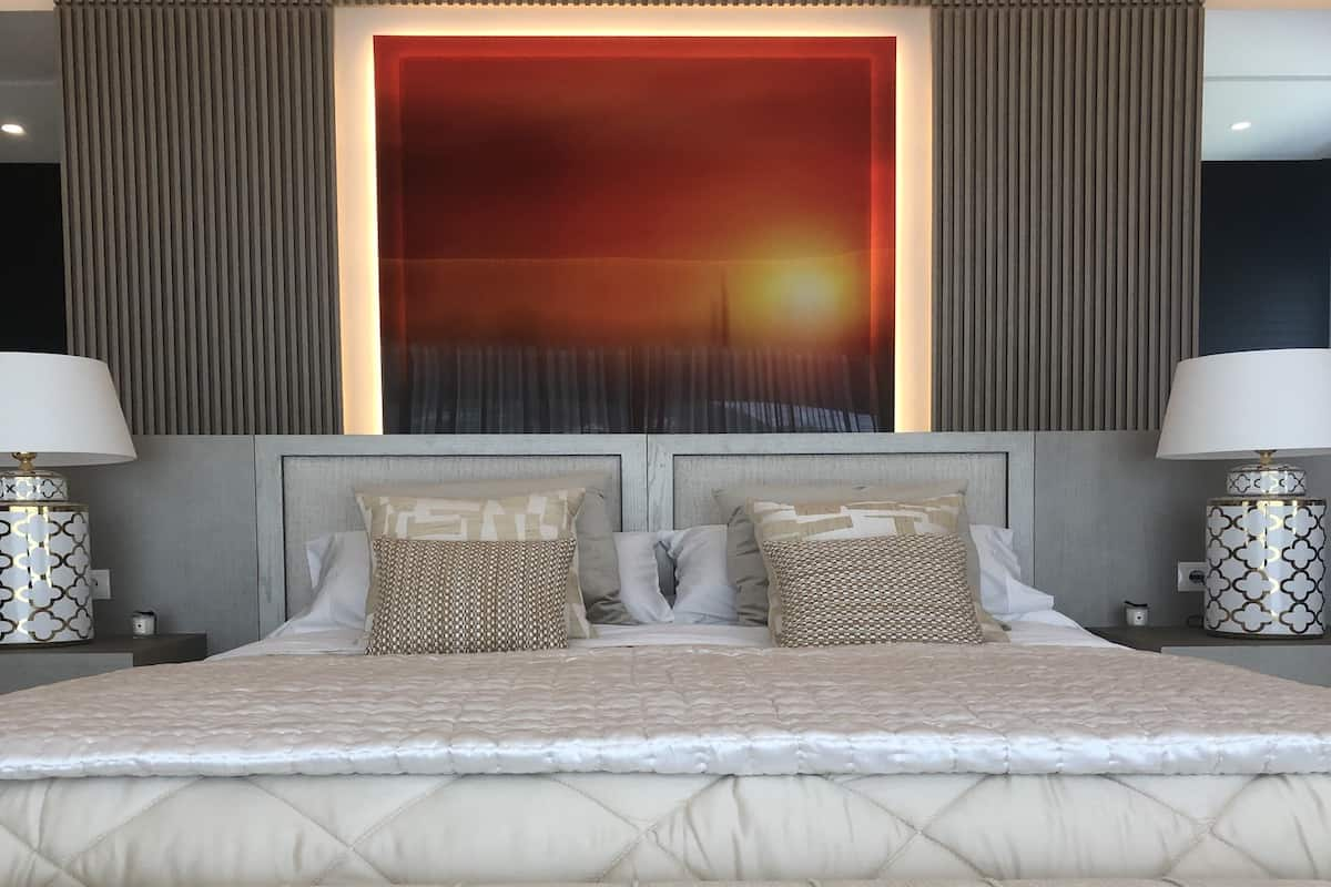 Bedroom with wall frame