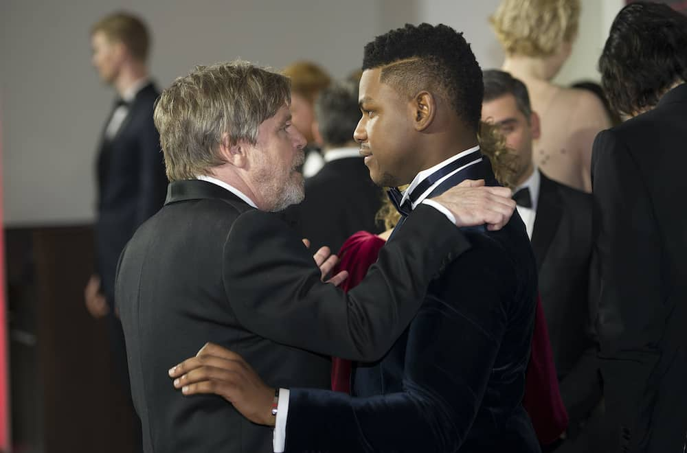 Mark Hamill and John Boyega attend the European premiere of Star Wars: The Last Jedi, at the Royal Albert Hall in London. PRESS ASSOCIATION Photo. Picture date: Tuesday December 12, 2017. See PA story SHOWBIZ StarWars. Photo credit should read: Eddie Mulholland/Daily Telegraph/PA Wire