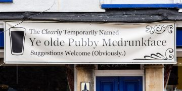 The Colston Arms pub in Bristol which has put up a banner changing its name to 'Ye olde Pubby Mcdrunkface' after calls for places relating to Edward Colston to be changed after his statue was toppled in Bristol centre during a Black Lives Matter protest. Bristol. 30 June 2020.Credit;SWNS