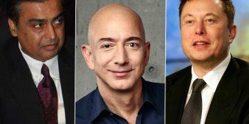 (L-R): Mukesh Ambani; Jeff Bezos; Elon Musk