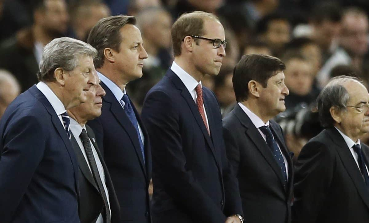 England coach Roy Hodgson, left, British Prime Minister David Cameron, second left, Britain's Prince William the Duke of Cambridge and France head coach Didier Deschamps, right, stand before the international friendly soccer match between England and France at Wembley Stadium in London, Tuesday, Nov. 17, 2015. France is playing England at Wembley on Tuesday after the countries decided the match should go ahead despite the deadly attacks in Paris last Friday night which killed scores of people. (AP Photo/Kirsty Wigglesworth)