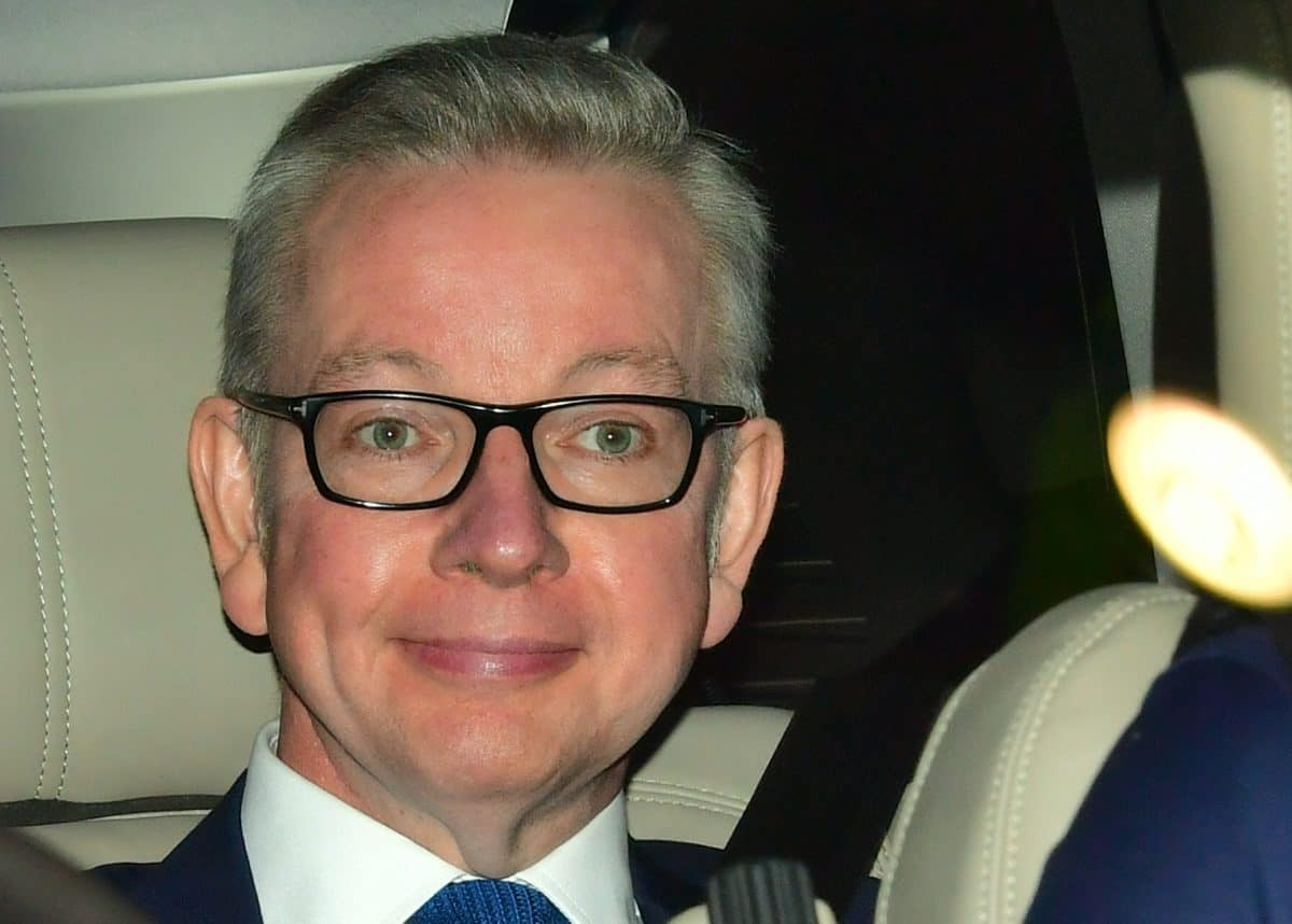 Conservative leadership hopeful Michael Gove leaving BBC Broadcasting House in London after appearing on the Andrew Marr show.