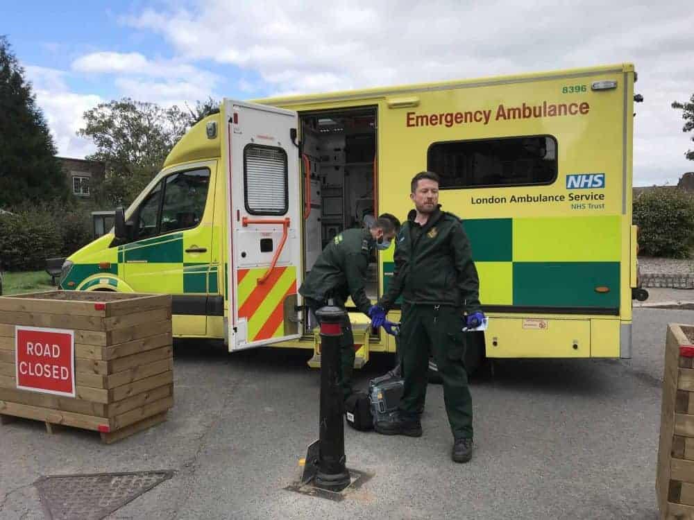 Paramedics stuck behind the bollards. Credit;SWNS