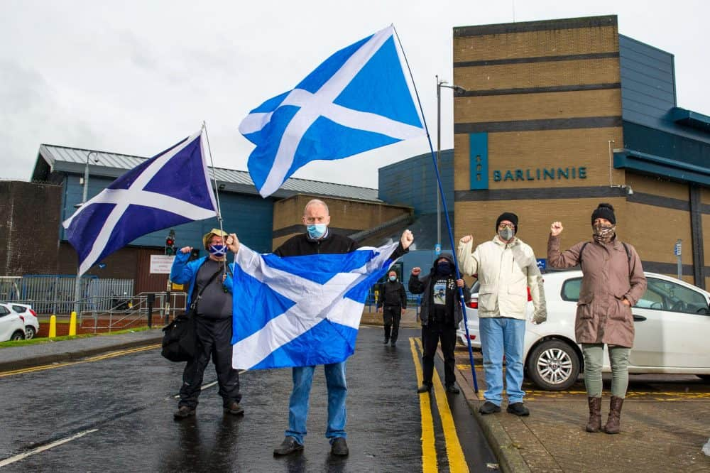 Pictured: (L-R) Chris Smith; Sean Clerkin; James Gardener; John Lowe; Jan Middleton.Action For Scotland protest outside Barlinnie Prison calling for the immediate release of Mandeep Singh from his d72 Day jail sentence for defying Glasgow City Council to have a rally for Scottish Independence in May of last year. September 2 2020. Credit;SWNS