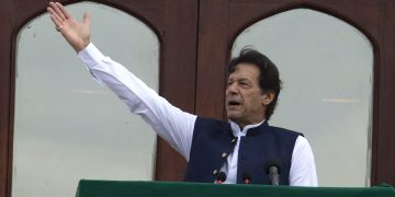 Pakistani Prime Minister Imran Khan addresses a Kashmir rally at the Prime Minister office in Islamabad, Pakistan, Friday, Aug. 30, 2019. Khan said he had warned the international community that India could launch an attack on Pakistani-held Kashmir in an effort to divert the attention from human rights abuses in its portion of the disputed Himalayan region. (AP Photo/B.K. Bangash)