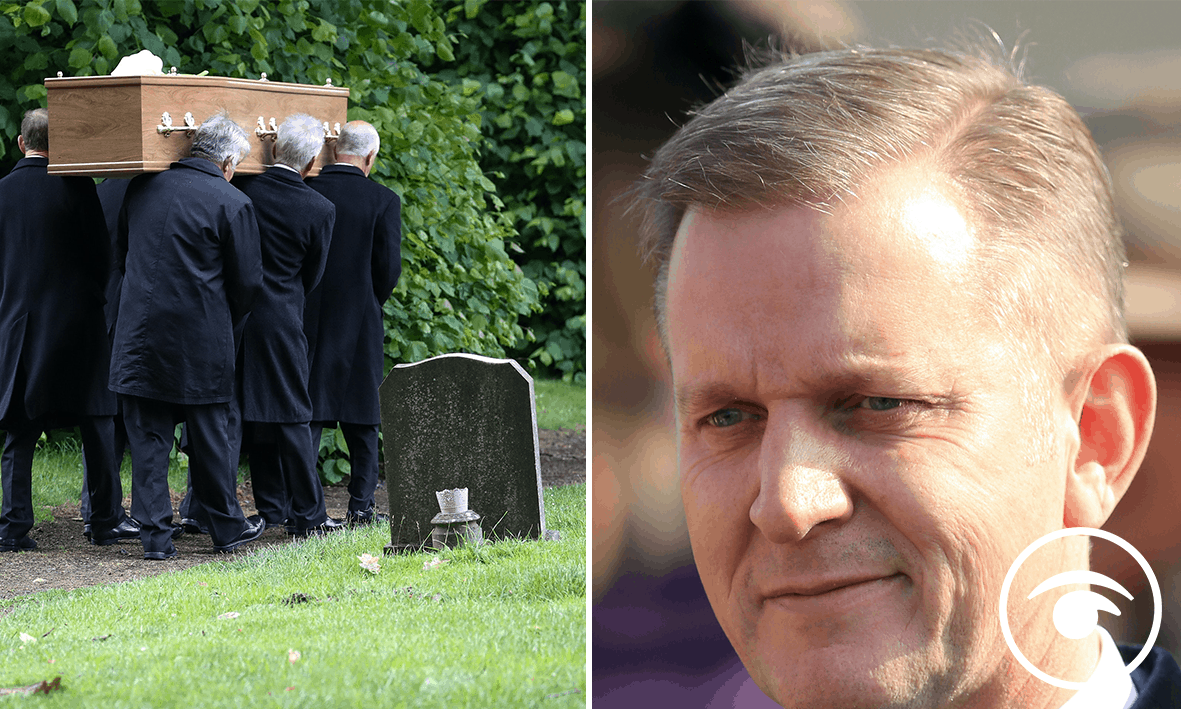 Pall-bearers carry the coffin of The Jeremy Kyle Show guest Steve Dymond