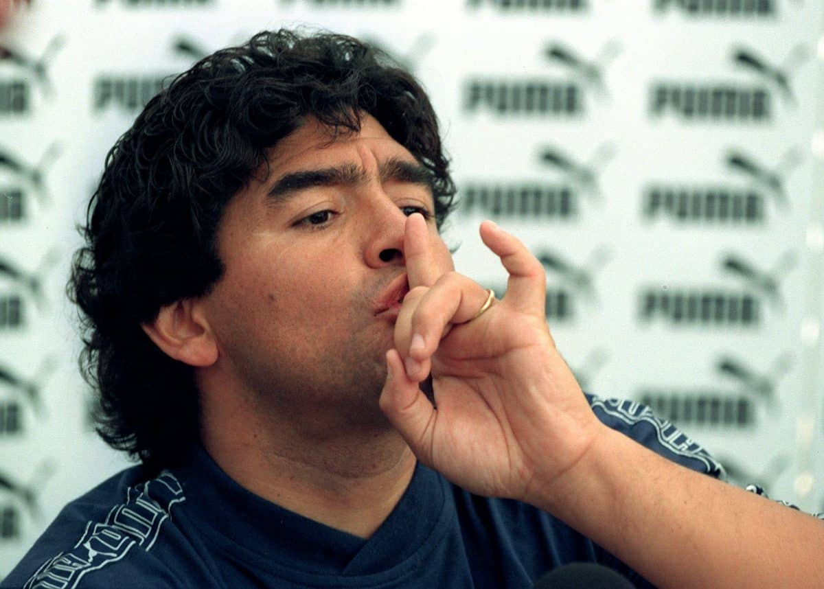PA Photo 15/9/96  Diego Maradona during a press conference held at an International four-a-side youth football tournament in Battersea Park, London.