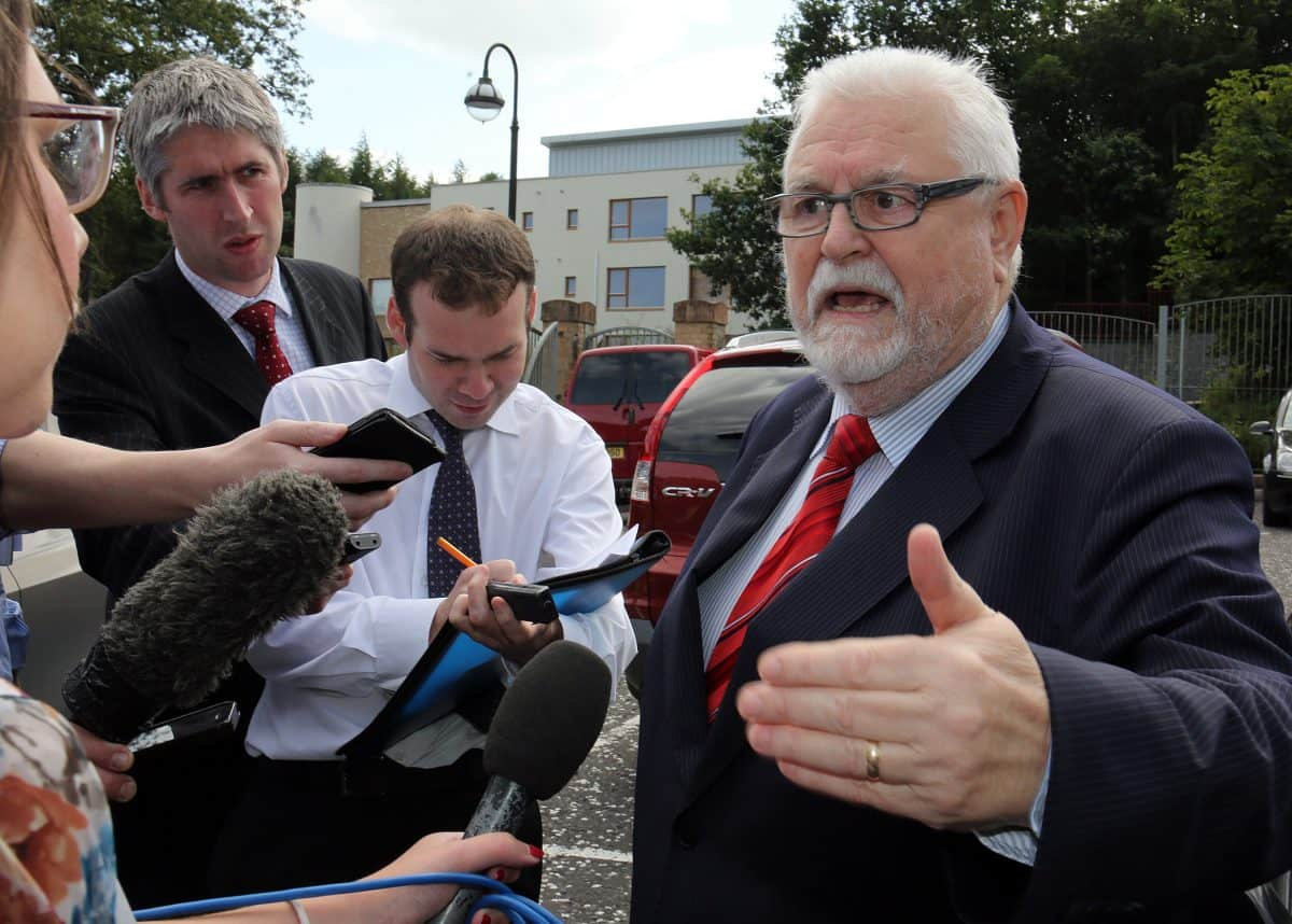 Lord Maginnis, speaking to the media outside Dungannon court house. The House of Lords peer has been convicted of assaulting a motorist in a road rage incident in Northern Ireland.
