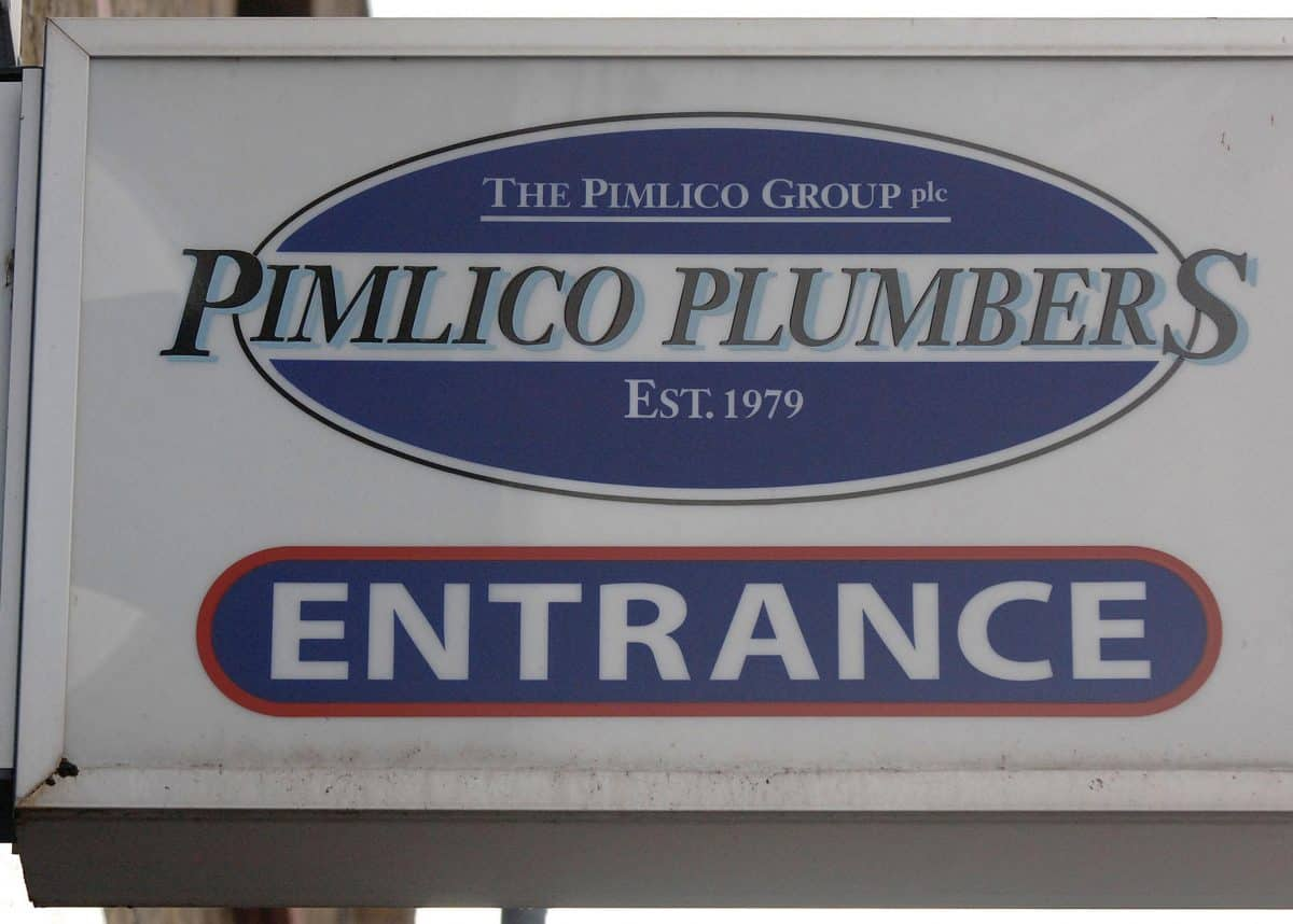 Stock picture of the sign outside Pimlico Plumbers in Lambeth, south London.