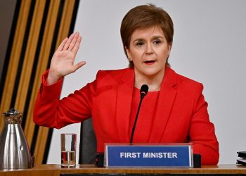 First Minister Nicola Sturgeon taking oath before giving evidence to the Committee on the Scottish Government Handling of Harassment Complaints, at Holyrood in Edinburgh, examining the handling of harassment allegations against former first minister Alex Salmond. Picture date: Wednesday March 3, 2021.