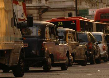 Heavy traffic in Westminster generates exhaust pollution in London.