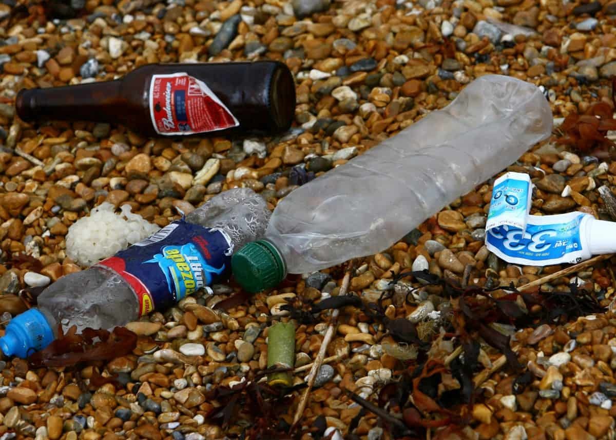 Rubbish left on a beach in Dover, Kent, as the amount of rubbish on the UK's beaches has reached its highest level ever, according to a survey. Credit;PA