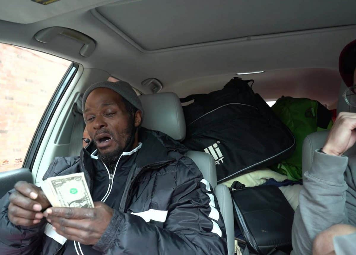 Video grab from footage of a homeless man called Mike Credit;SWNS
