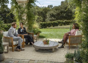 Handout photo supplied by Harpo Productions showing the Duke and Duchess of Sussex during their interview with Oprah Winfrey which was broadcast in the US on March 7. Issue date: Monday March 8, 2021.