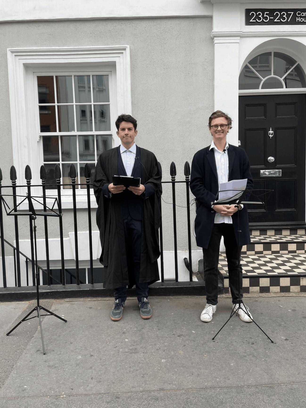 Max Fosh (right) waiting to debate Laurence Fox