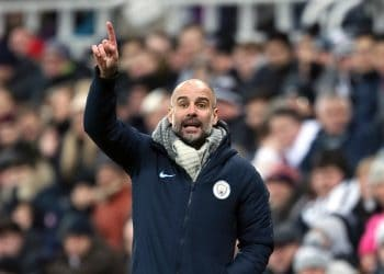Manchester City manager Pep Guardiola gestures on the touchline during the Premier League match at St James' Park, Newcastle.