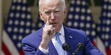 President Joe Biden gestures as he speaks about gun violence prevention in the Rose Garden at the White House, Thursday, April 8, 2021, in Washington. (AP Photo/Andrew Harnik)