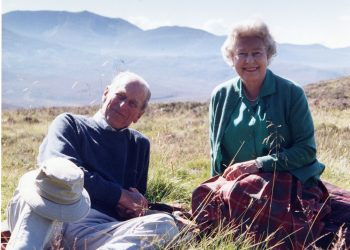 Handout image released by Buckingham Palace on 16/04/21 of a personal photograph of the Queen Elizabeth II and the Duke of Edinburgh at the top of the Coyles of Muick, taken by The Countess of Wessex in 2003. Issue date: Friday April 16, 2021.