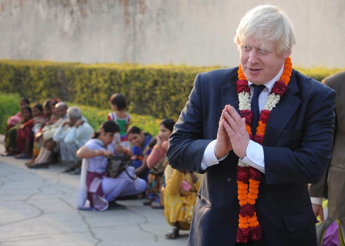 London Mayor Boris Johnson visits the Akshardham Temple in New Delhi, a sister temple to the Neasden Temple in North West London, on the first of a six-day tour of India, where he will be trying to persuade Indian businesses to invest in London.