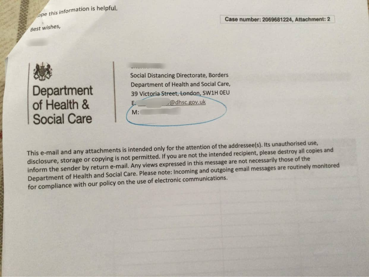 DHSC letter