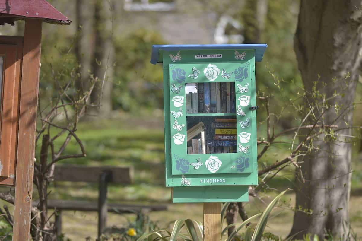 The little free library box in Cornholme, near Todmorden, West Yorkshire. Credit;SWNS