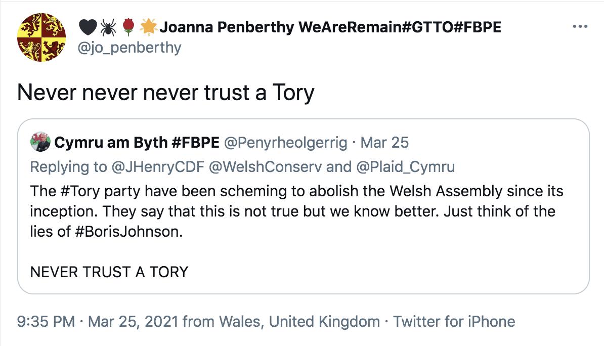 """Never trust a Tory"" - Bishop of St Davids Dr Joanna Penberthy"