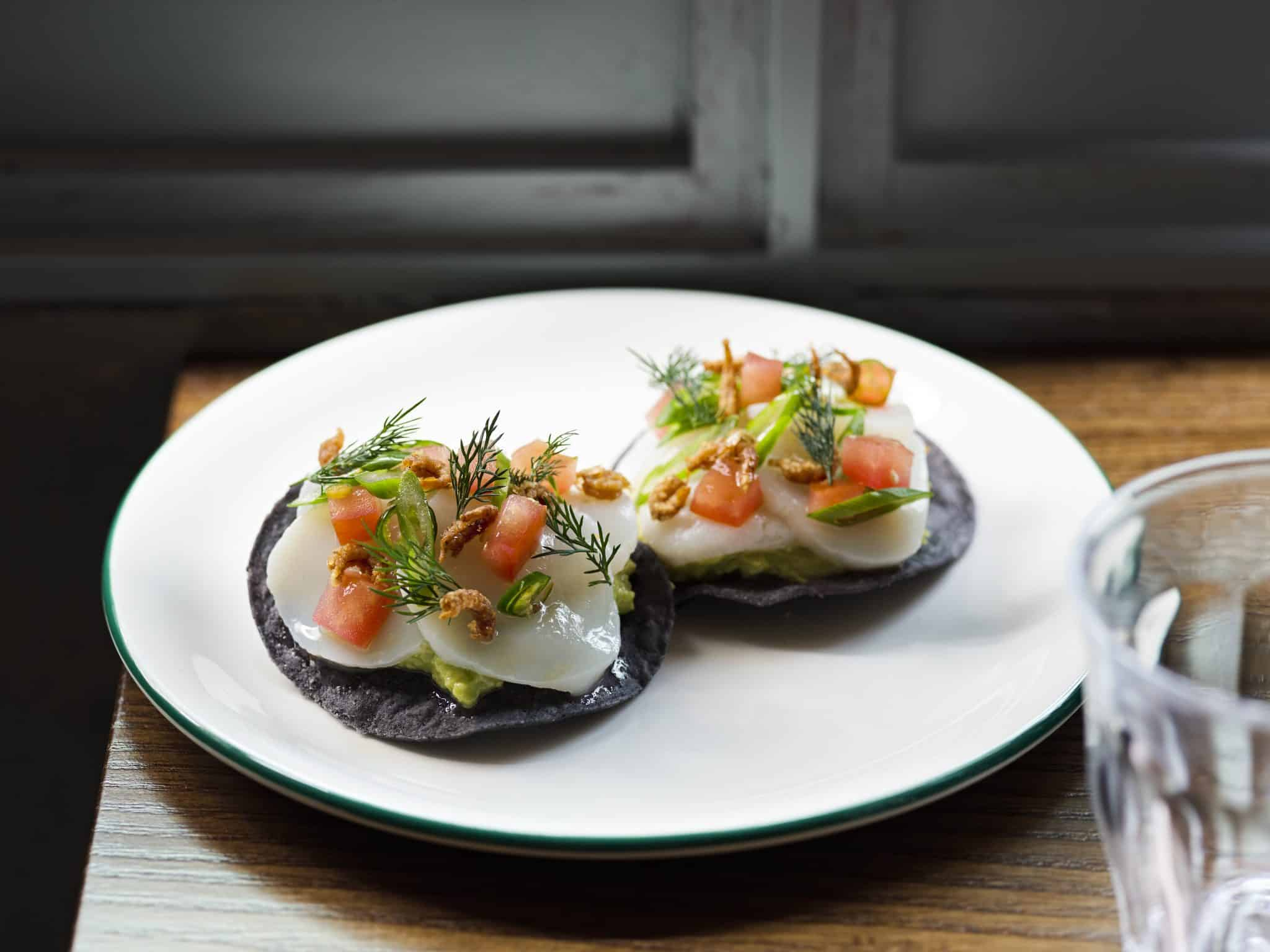 London's best new restaurant openings El Pastor Baja California Scallop Tostada, EP Soho, Jason Lowe