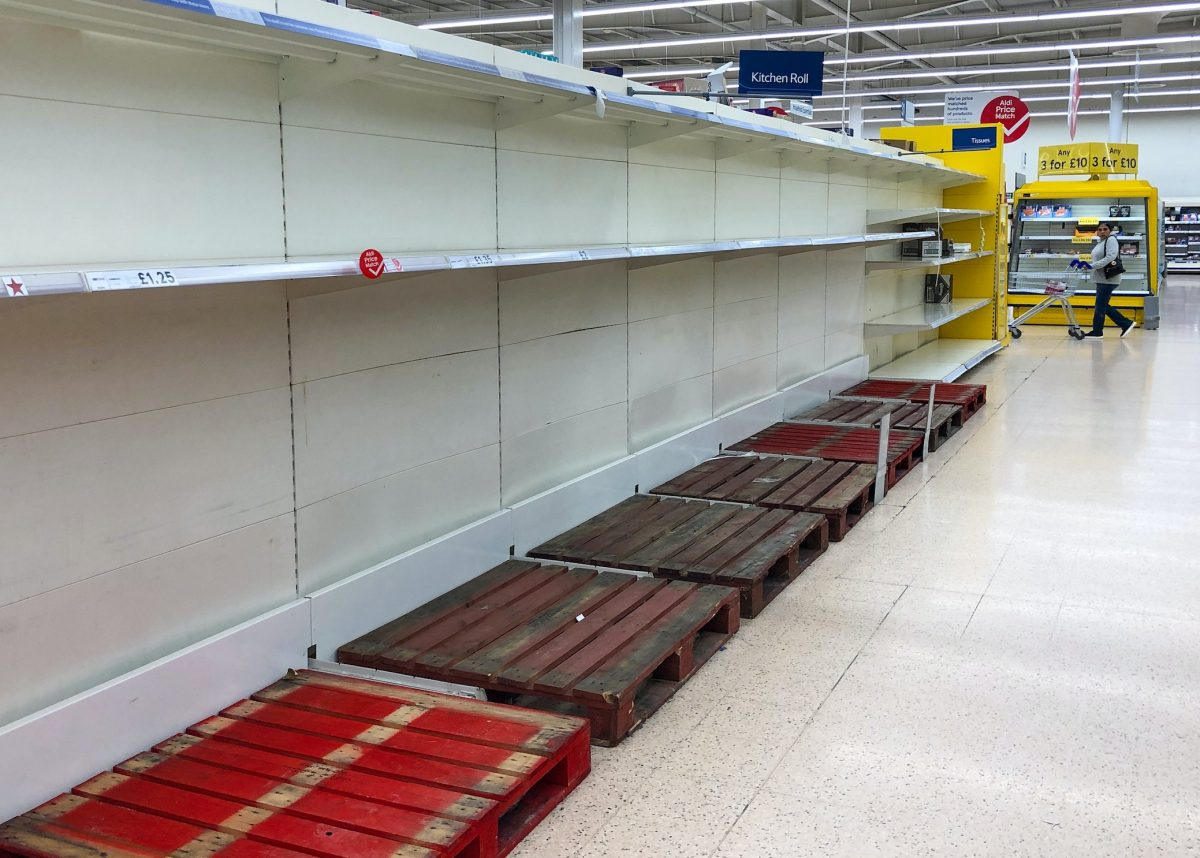 Shelves when the Pandemic first spread to UK . Credit;PA