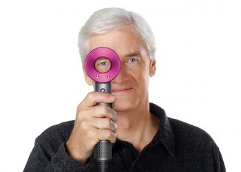 Undated Dyson handout image of Sir James Dyson with his company's new Supersonic hair dryer, which features its trademark bladeless fan.