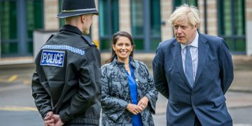 Prime Minister Boris Johnson and Home Secretary Priti Patel are introduced to recently graduated Police Officers during a visit to North Yorkshire Police headquarters, Northallerton. Credit;PA