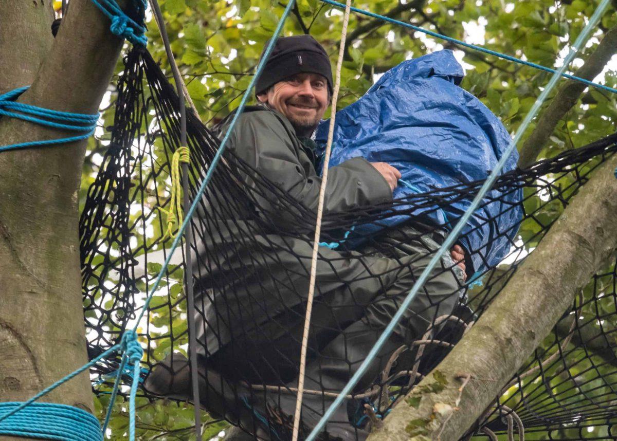 Swampy the actavist, real name is Daniel Hooper in a tree in Jones' Hill Wood in Aylesbury.  Credit;SWNS