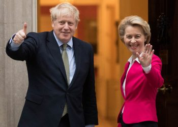 File photo dated 8/1/2020 of Boris Johnson and Ursula von der Leyen. The Prime Minister is to hold talks with the European Commission president to take stock of negotiations on a post-Brexit free trade deal, Downing Street has said.