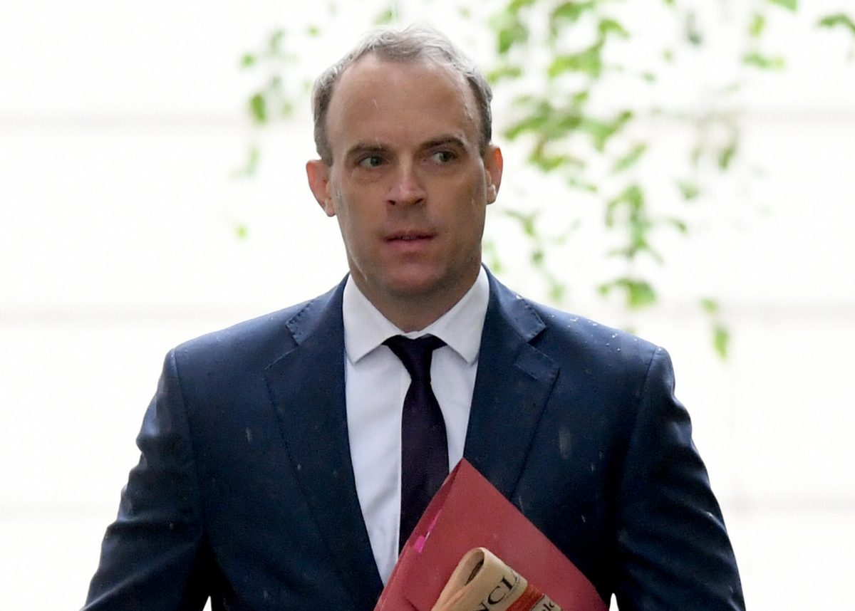 Foreign secretary Dominic Raab in Downing Street, London.