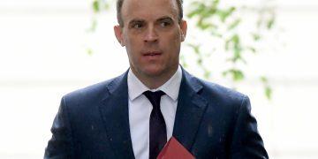 Foreign secretary Dominic Raab in Downing Street, London.