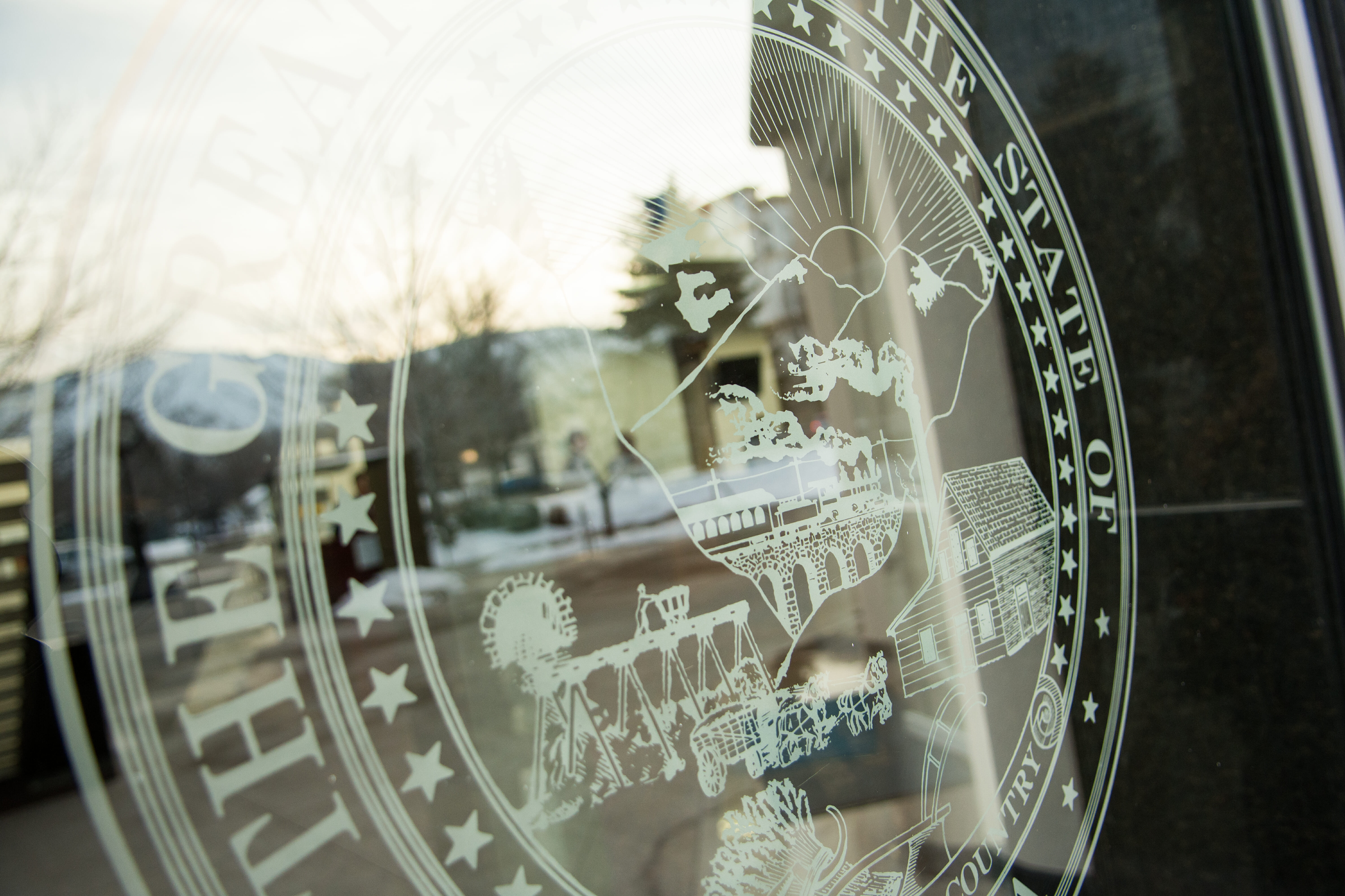 The state seal of Nevada shown on a glass window or door