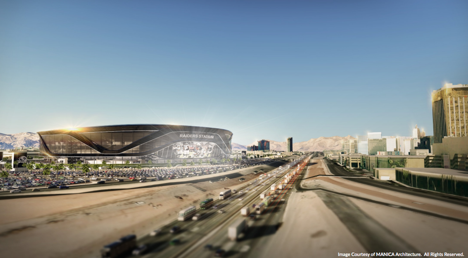 Rendering of football stadium to the left of I-15 in Las Vegas