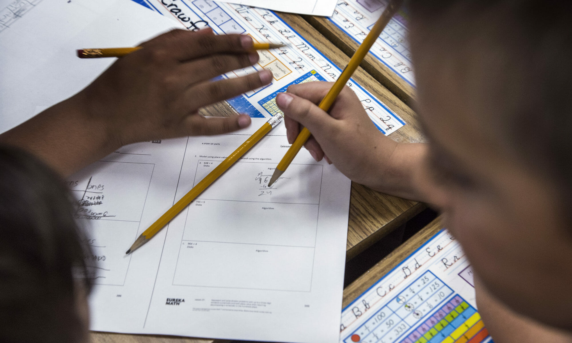 A student working on classwork at Pat Diskin Elementary School