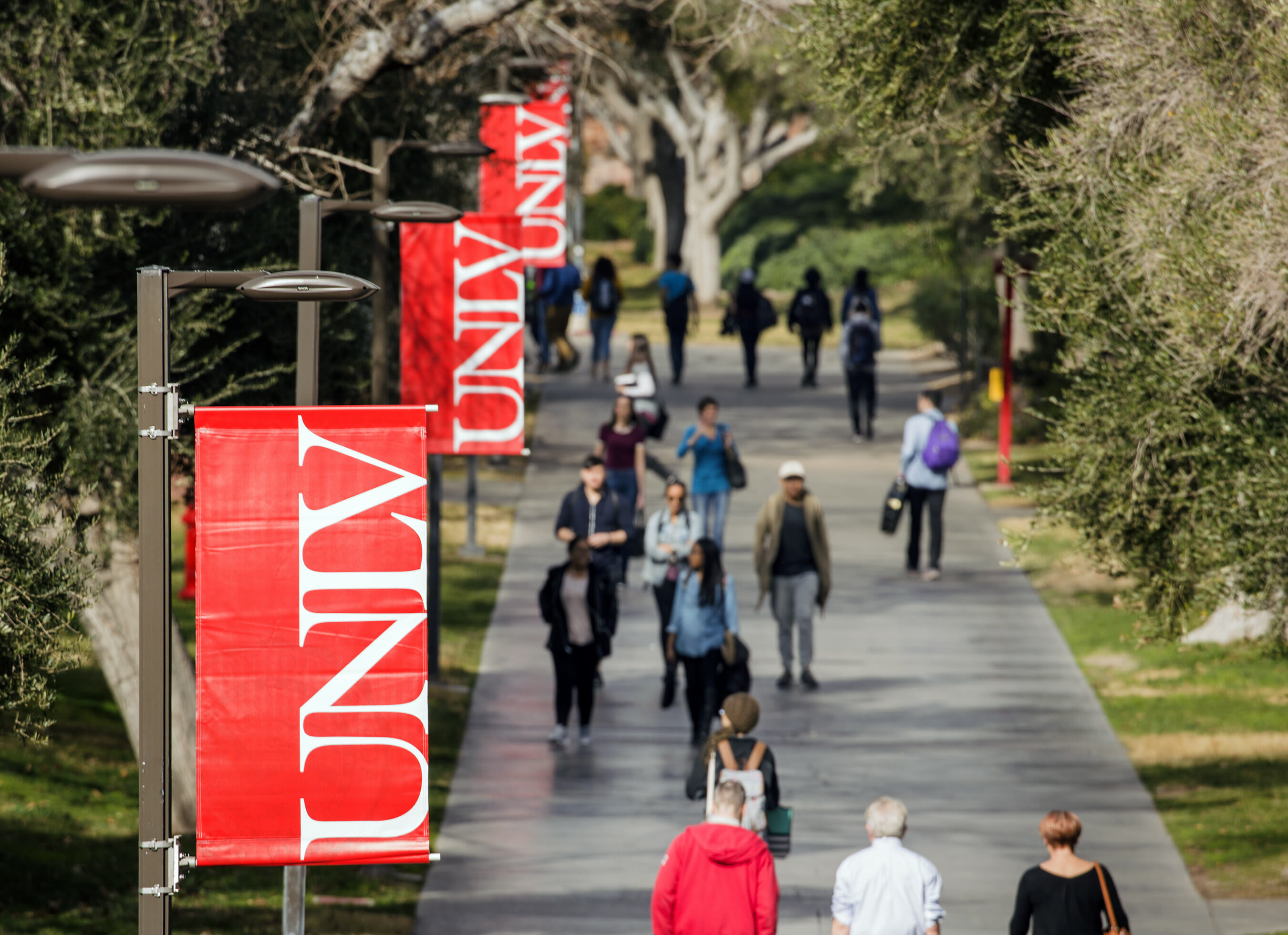 People walk the UNLV campus