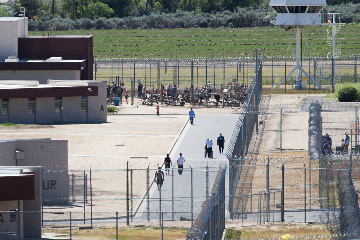 Looking down at inmates in the yard at Northern Nevada Correctional Center