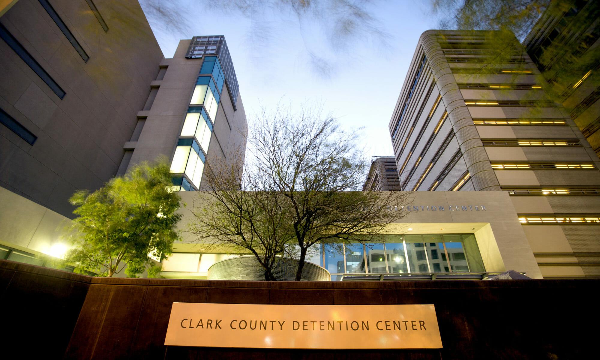 Clark County Detention Center building at dusk