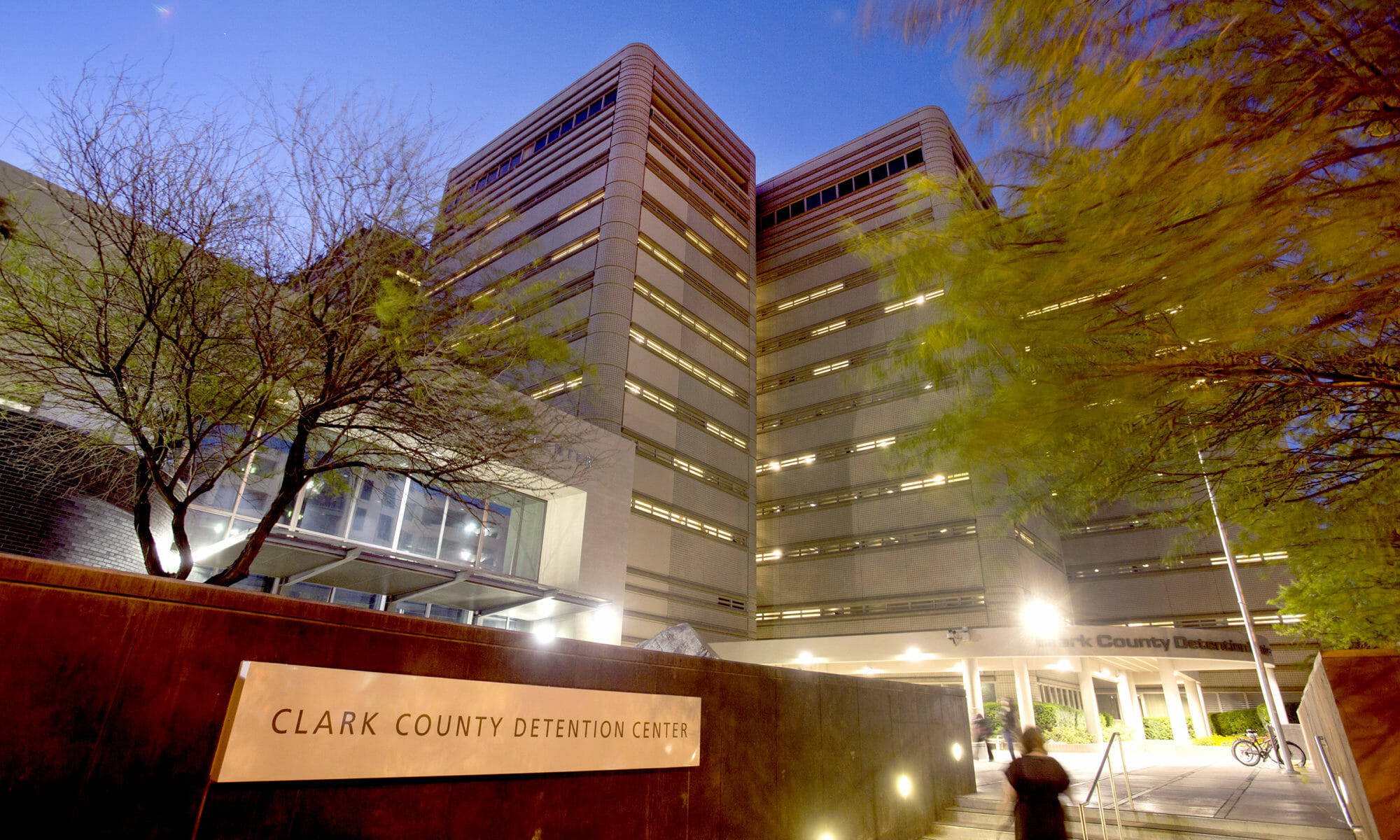 The Clark County Detention Center at dusk