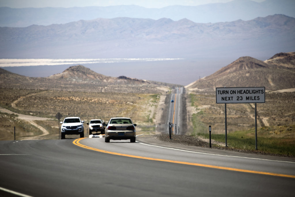 Vehicles on U.S. 95 south of Tonopah