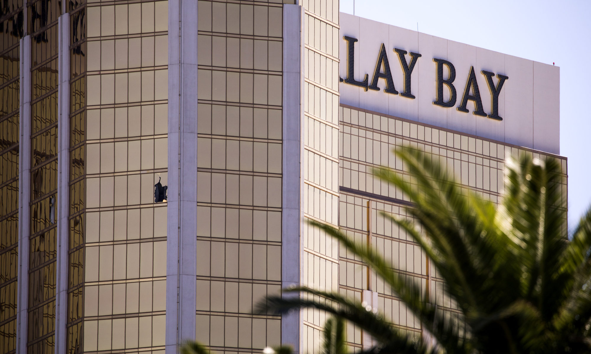 A shattered window on the 32nd floor at the Mandalay Bay