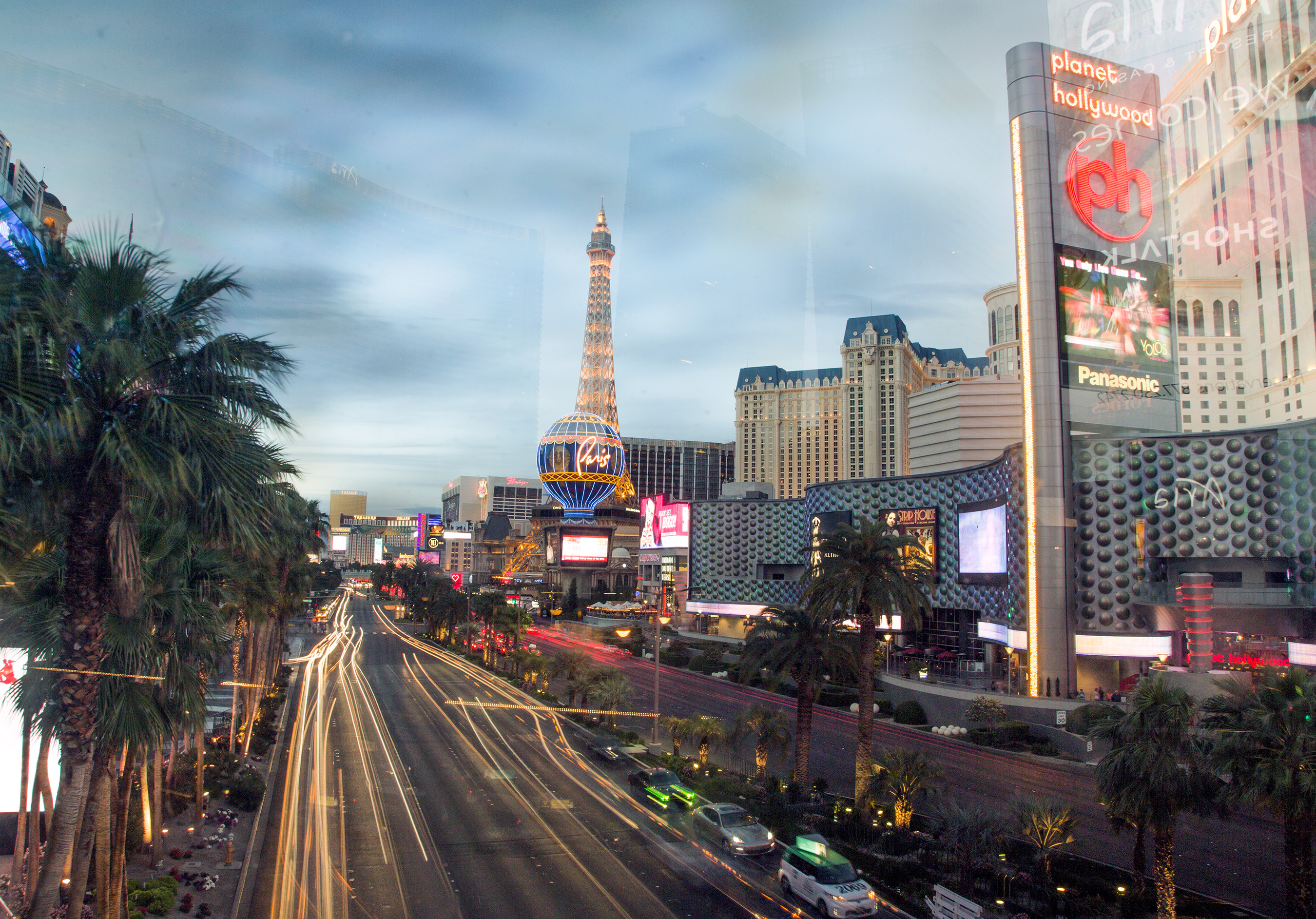 A view of Las Vegas Boulevard in the evening