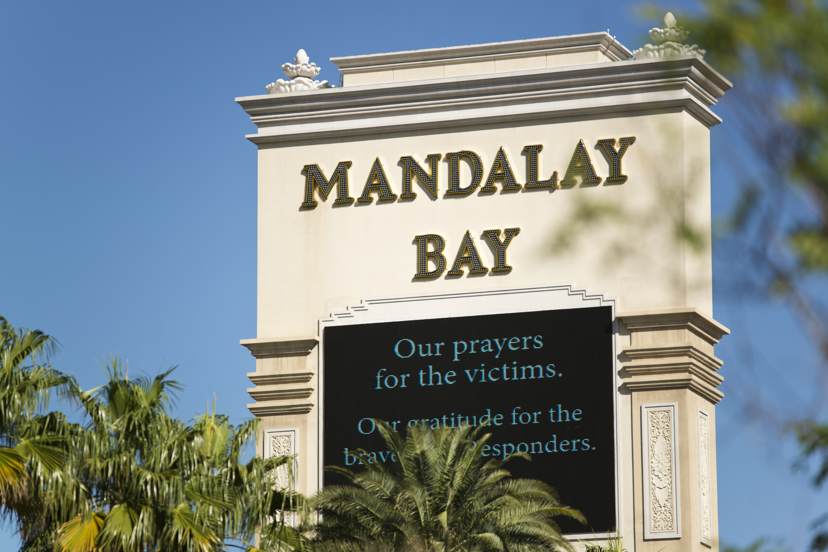 The Mandalay Bay sign on the Las Vegas Strip
