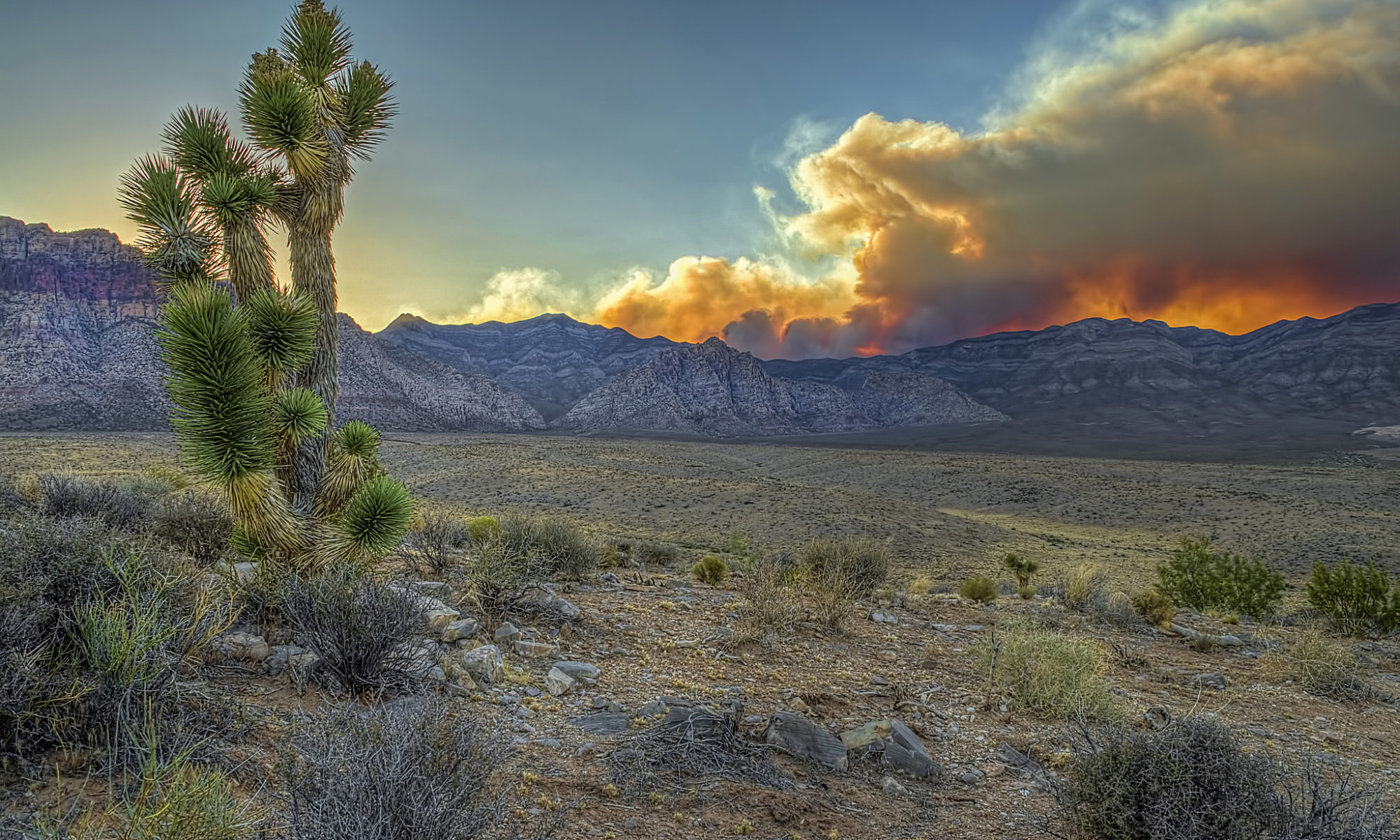 Smoke over Red Rock National Conservation Area