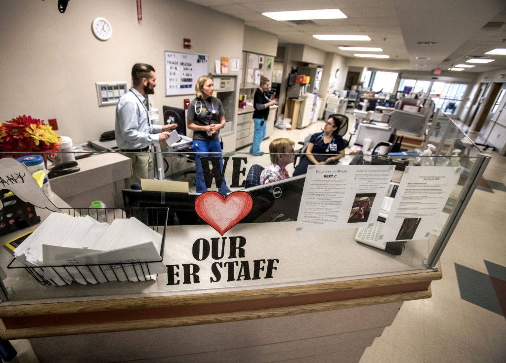Northeastern Nevada Regional Hospital staff gather in the emergency room area in Elko