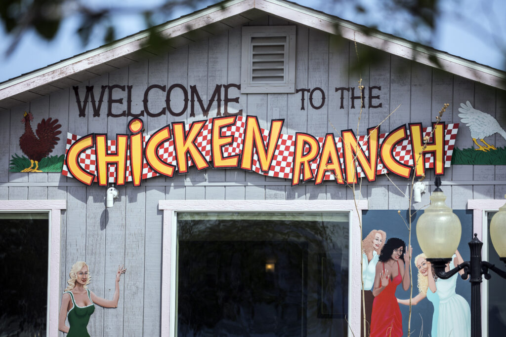 The front entrance to the Chicken Ranch brothel