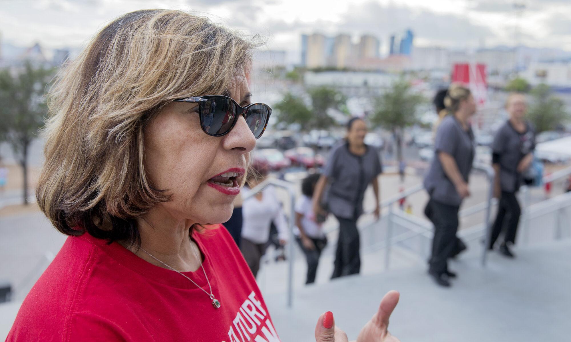 Geoconda Arguello-Kline in a red shirt