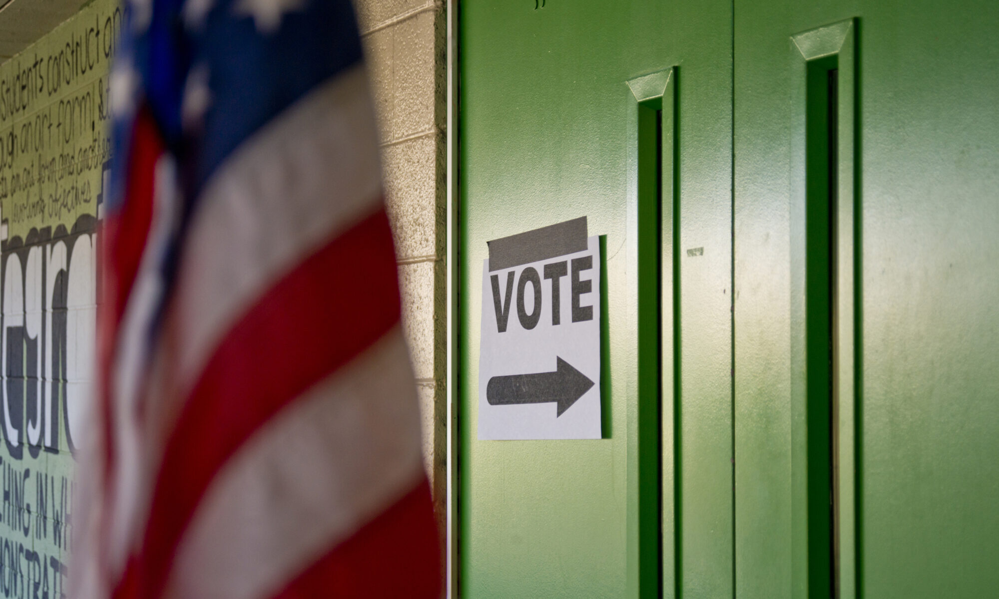 Signage directs voters toward a voting center
